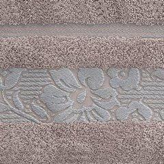 Ręcznik z bawełny z kwiatowym wzorem na bordiurze 70x140cm wrzosowy - 70 X 140 cm - liliowy 10