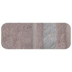 Ręcznik z bawełny z kwiatowym wzorem na bordiurze 70x140cm wrzosowy - 70 X 140 cm - liliowy 2