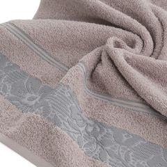 Ręcznik z bawełny z kwiatowym wzorem na bordiurze 70x140cm wrzosowy - 70 X 140 cm - liliowy 5