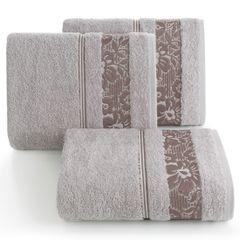 Ręcznik z bawełny z kwiatowym wzorem na bordiurze 50x90cm liliowy - 50 X 90 cm - liliowy 1