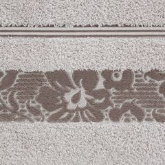 Ręcznik z bawełny z kwiatowym wzorem na bordiurze 50x90cm liliowy - 50 X 90 cm - liliowy 4