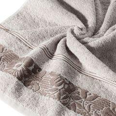 Ręcznik z bawełny z kwiatowym wzorem na bordiurze 50x90cm liliowy - 50 X 90 cm - liliowy 2