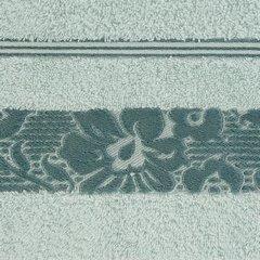 Ręcznik z bawełny z kwiatowym wzorem na bordiurze 50x90cm błękitny - 50 X 90 cm - niebieski 4