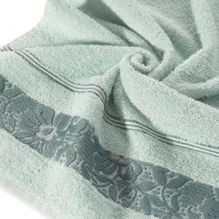 Ręcznik z bawełny z kwiatowym wzorem na bordiurze 50x90cm błękitny - 50 X 90 cm - niebieski 2