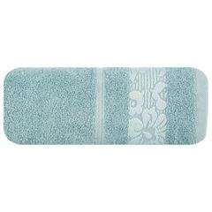 Ręcznik z bawełny z kwiatowym wzorem na bordiurze 50x90cm jasnoniebieski - 50 X 90 cm - niebieski 2