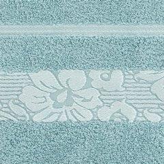 Ręcznik z żakardową bordiurą motyw roślinny jasnoniebieski 70x140 cm - 70 X 140 cm - niebieski 9