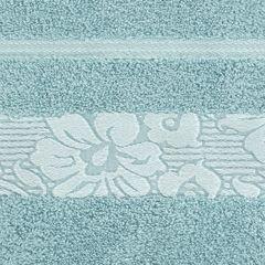 Ręcznik z żakardową bordiurą motyw roślinny jasnoniebieski 70x140 cm - 70 X 140 cm - niebieski 4