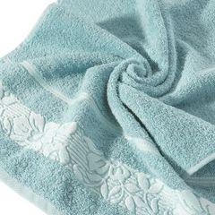 Ręcznik z żakardową bordiurą motyw roślinny jasnoniebieski 70x140 cm - 70 X 140 cm - niebieski 5