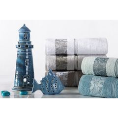Ręcznik z żakardową bordiurą motyw roślinny jasnoniebieski 70x140 cm - 70 X 140 cm - niebieski 6