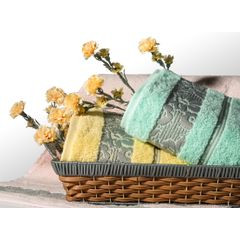 Ręcznik z żakardową bordiurą motyw roślinny jasnoniebieski 70x140 cm - 70 X 140 cm - niebieski 7