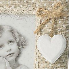Ramka z tkaniną i koronką kropki serce 16 x 19 cm - 16 X 19 cm - beżowy/kremowy 3