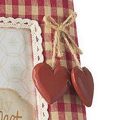 Ramka pokryta tkaniną krata serca 18 x 23 cm - 18 X 23 cm - czerwony/biały 5