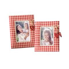 Ramka pokryta tkaniną krata serca 18 x 23 cm - 18 X 23 cm - czerwony/biały 2
