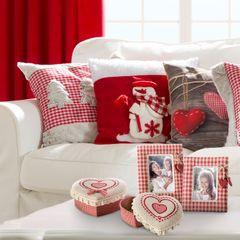 Ramka pokryta tkaniną krata serca 18 x 23 cm - 18 X 23 cm - czerwony/biały 3