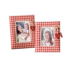 Ramka pokryta tkaniną krata serca 18 x 23 cm - 18 X 23 cm - czerwony/biały 4