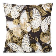 Poszewka na poduszkę 45 x 45 cm białe motyle na czarnym tle  - 45x45 - czarny 1