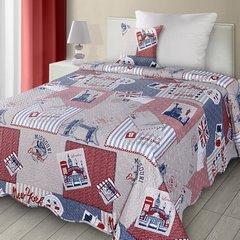 Poszewka na poduszkę 40 x 40 cm londyn  - 40 X 40 cm - beżowy / niebieski / różowy 2