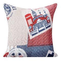 Poszewka na poduszkę 40 x 40 cm londyn  - 40 X 40 cm - beżowy / niebieski / różowy 1