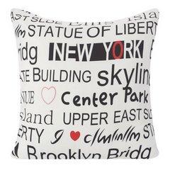 Poszewka na poduszkę 40 x 40 cm new york biało czarna  - 40x40 - srebrny 1