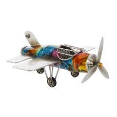 Figurka dekoracyjna samolot metal 23 x 23 x 10 cm - 23 X 23 X 10 cm - wielokolorowy 1