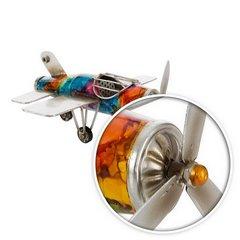 Figurka dekoracyjna samolot metal 23 x 23 x 10 cm - 23 X 23 X 10 cm - wielokolorowy 6