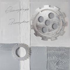 Obraz zegar popielaty 60 x 60 cm - 60 X 60 cm - szary/popielaty/srebrny 1