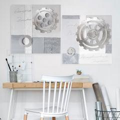Obraz zegar popielaty 60 x 60 cm - 60 X 60 cm - szary/popielaty/srebrny 6