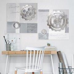 Obraz zegar popielaty 60 x 60 cm - 60 X 60 cm - szary/popielaty/srebrny 7