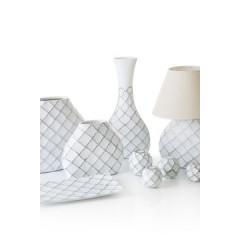 Lampa ceramiczna żłobiona podstawa z przetarciami 54 cm - 32 X 10 X 54 cm - biały 2