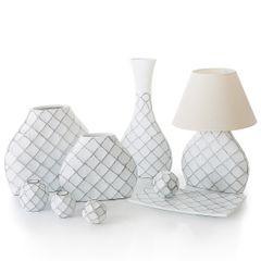 Lampa ceramiczna żłobiona podstawa z przetarciami 54 cm - 32 X 10 X 54 cm - biały 3