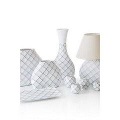 Lampa ceramiczna żłobiona podstawa z przetarciami 54 cm - 32 X 10 X 54 cm - biały 6