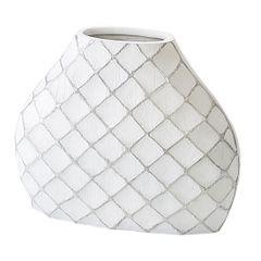 Wazon ceramiczny żłobiony z przetarciami 37 cm - 43 X 13 X 37 cm - biały 1