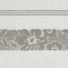 Ręcznik z bawełny z kwiatowym wzorem na bordiurze 50x90cm kremowy+beżowy - 50 X 90 cm - kremowy 4