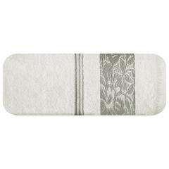 Ręcznik z bawełny z kwiatowym wzorem na bordiurze 50x90cm kremowy+beżowy - 50 X 90 cm - kremowy 2