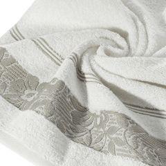 Ręcznik z bawełny z kwiatowym wzorem na bordiurze 70x140cm kremowy+beżowy - 70 X 140 cm - kremowy 2