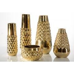 Dekoracyjny wazon ceramiczny wytłaczany złoty 37 cm - ∅ 12 X 37 cm - złoty 2