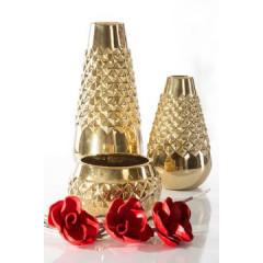 Dekoracyjny wazon ceramiczny wytłaczany złoty 35 cm - ∅ 15 X 35 cm - złoty 3