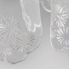 Firana haftowana w kwiaty biała z kryzą na taśmie 400x160cm - 400 X 160 cm - kremowy 3