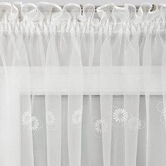 Firana haftowana w kwiaty biała z kryzą na taśmie 400x160cm - 400 X 160 cm - kremowy 4
