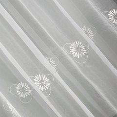 Firana haftowana w kwiaty biała z kryzą na taśmie 400x160cm - 400 X 160 cm - kremowy 5