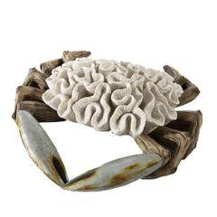 Figurka krab dekoracyjny motyw rafy koralowej - 33 X 32 X 9 cm - ecru/beżowy 1