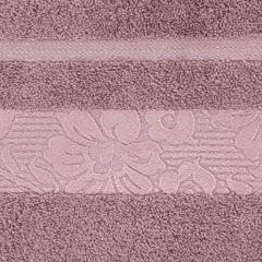 Ręcznik z bawełny z kwiatowym wzorem na bordiurze 70x140cm różowy - 70 X 140 cm - liliowy 9