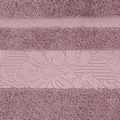 Ręcznik z bawełny z kwiatowym wzorem na bordiurze 70x140cm różowy - 70 X 140 cm - liliowy 10