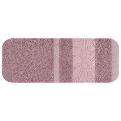 Ręcznik z bawełny z kwiatowym wzorem na bordiurze 70x140cm różowy - 70 X 140 cm - liliowy 2