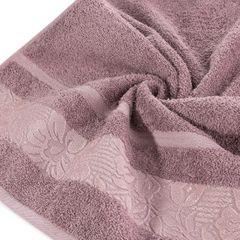 Ręcznik z bawełny z kwiatowym wzorem na bordiurze 70x140cm różowy - 70 X 140 cm - liliowy 5