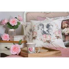Poszewka dekoracyjna na poduszkę 45 x 45 kolor brązowy - 45 X 45 cm - kremowy/różowy 2