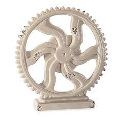 Figurka koło zębate z dolomitu 20 x 5 x 20 cm shabby chic - ∅ 20 X 5 X 20 cm - beżowy 1
