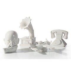Figurka patefon z dolomitu 16 x 15 x 30 cm shabby chic - 16 X 15 X 30 cm - kremowy 2