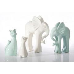 Figurka ceramiczna słoń 21 cm - 19 X 8 X 21 cm - ecru 2