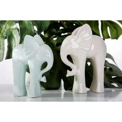 Figurka ceramiczna słoń 21 cm - 19 X 8 X 21 cm - ecru 3